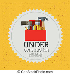 under construction over yellow background vector...