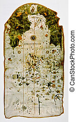 Medieval map showing part of North America. Photo from old...