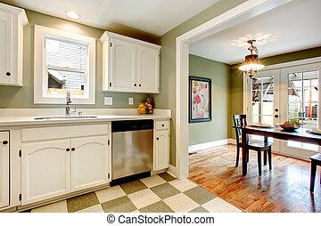 grand, couleur, solution, cuisine, salle, conception