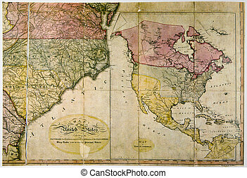 Antique map of United States c. 1800. Photo from old...