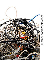 Tangled Wires - A mess of jumbled up tangled electronic...