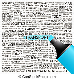 TRANSPORT. Word cloud illustration. Tag cloud concept...