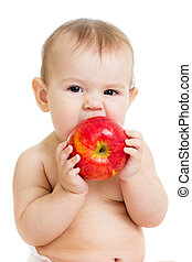 Baby eating apple, isolated on white