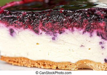 cake piece - tasty piece of berry cake closeup