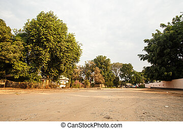 Dusty Road through center of Livingstone Town, Zambia -...