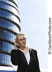 Beautiful Female Banker On Phone