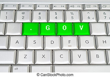 Internet top level domain gov spelled on metallic keyboard