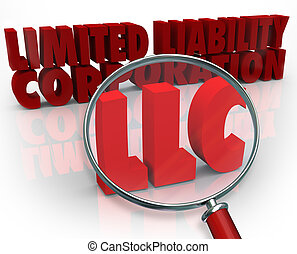 LLC Magnifying Glass Limited Liability Corporation Red Words...