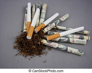 Smoking Costs - Pile of tobacco with cigarette papers and...