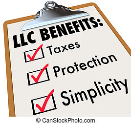 LLC Benefits list on a clipboard with checks on boxes for...
