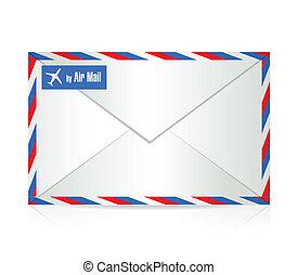 by air mail envelope illustration design over a white...