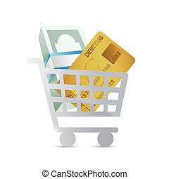 shopping cart and money concept illustration