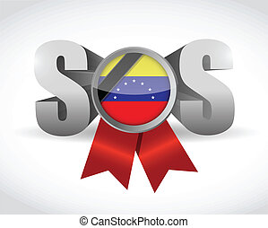 sos venezuela ribbon illustration design