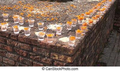 buddhist prayers place. Lumbini - buddhist prayers give food...