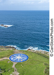 Compass rose in A Coruna, Galicia, Spain. - Compass rose...