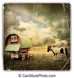 Gypsy Wagon, Caravan - An Old Vintage Photograph of an Old...