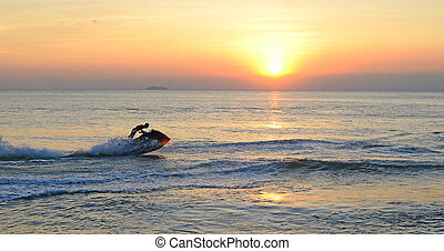 jet ski - jet sky and sunset