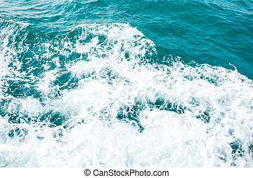speed boat prop wash, white wake on ocean (wave,splash)