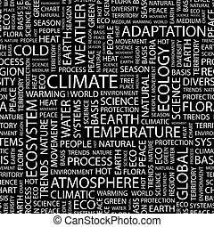 CLIMATE. Seamless pattern. Word cloud illustration.