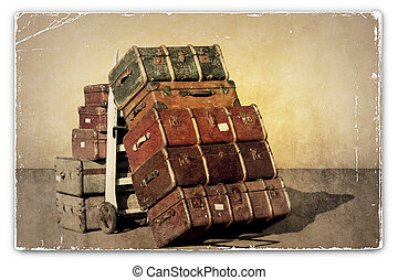 Vintage Suitcases - A Vintage Grunge Photograph of a Pile of...