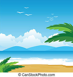 Tropical landscape - Illustration of the beach and epidemic...