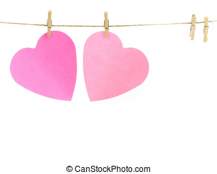 hearts on a clothes line - Pink paper hearts on a clothes...