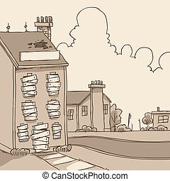 Abandoned Building - A cartoon of a boarded up, abandoned...