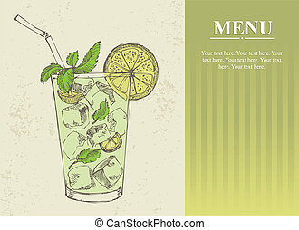 Hand drawn illustration of mojito - Hand drawn illustration...