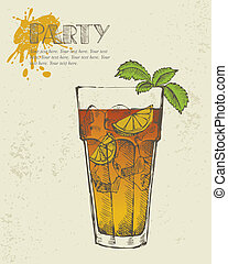 Long island iced tea cocktail - Hand drawn illustration of...