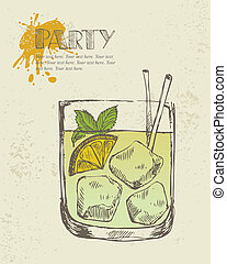 Iced tropical cocktail - Hand drawn illustration of iced...