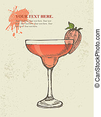 Tropical red cocktail. - Hand drawn illustration of tropical...