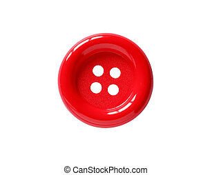 Red Button - Closeup of red button on white background...