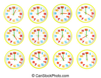 Colorful clock of twelve style in telling time - Big size...