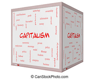 Capitalism Word Cloud Concept on a 3D cube Whiteboard