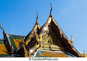 Traditional Thai style art of gable in temple, Thailand