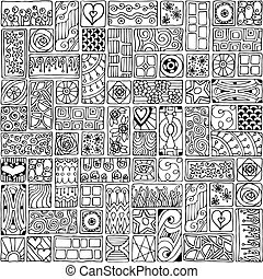 Seamless pattern with doodle flowers and hearts. - Seamless...