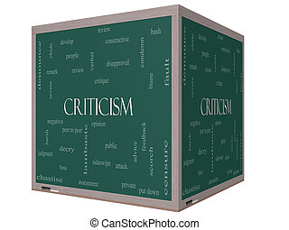 Criticism Word Cloud Concept on a 3D cube Blackboard with...