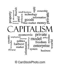 概念, 単語, 資本主義, 黒, 白, 雲
