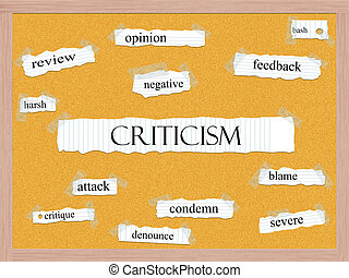 Criticism Corkboard Word Concept with great terms such as...