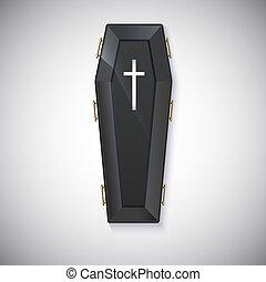 élégant, noir, cercueil, éclat, jaune,...