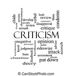 Criticism Word Cloud Concept in black and white with great...