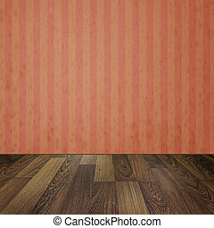 Empty room with wooden floors and vintage striped wallpaper