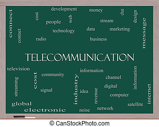Telecommunication Word Cloud Concept on a Blackboard