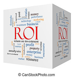 ROI 3D cube Word Cloud Concept with great terms such as...