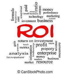ROI Word Cloud Concept in red caps with great terms such as...