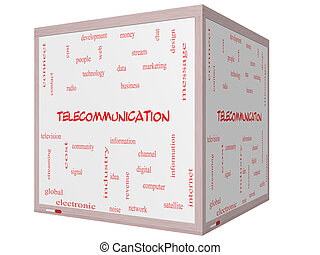 Telecommunication Word Cloud Concept on a 3D cube Whiteboard