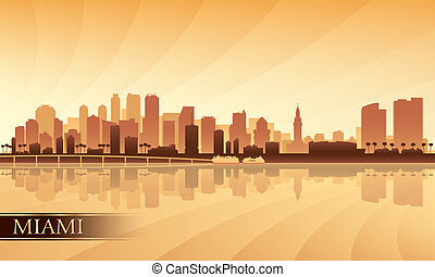 Miami city skyline silhouette background, vector...