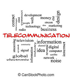 Telecommunication Word Cloud Concept in red caps