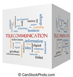 Telecommunication 3D cube Word Cloud Concept