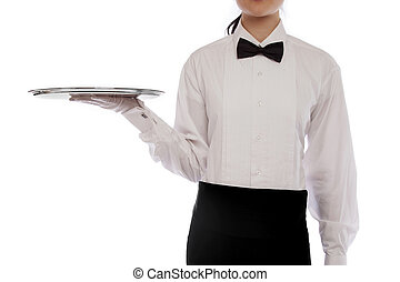Formal server holding silver tray - Formal server wearing...